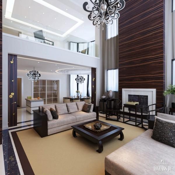 挑空的客厅在家具的选择上贵金不贵多,主要是以简单的混合搭配为主要手法,在满足使用功能的基础上,适当用运了简单的中式元素八仙桌、太师椅,从功能与艺术两方面加以选择,室内的布置成列有章法。
