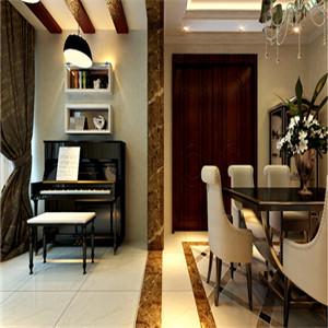 空间足够大,设计师放一台钢琴,不仅可以丰富空间的视觉效果,它的优雅琴声更是欧式餐厅所必不可少的。