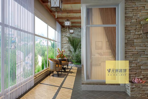 在设计时考虑该户型采光很好,又有一个很大的门厅,把门厅设计成一个立体的空中花园设计,每当开门时便能感到生机与情趣。客厅采用深色的壁纸装饰成背景墙配以大的弧线使得客厅空间大方典雅