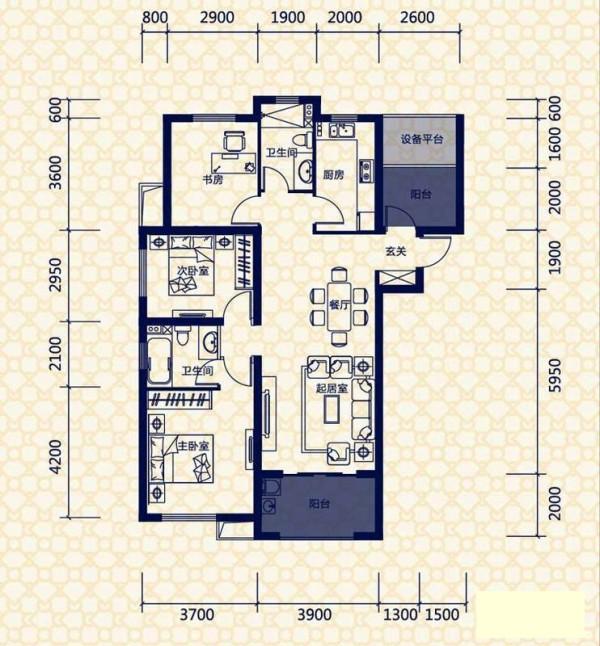 保利拉菲公馆-欧式经典-三居室装修-户型图