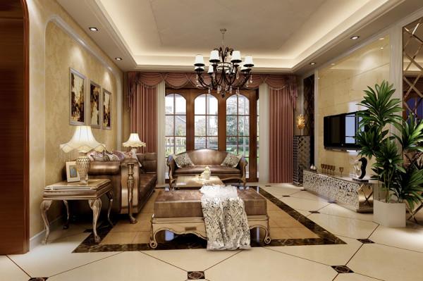 客厅整体以墙纸打造,显得温馨,地面的拼花砖,结合我们顶部的造型,,显得精致无比。