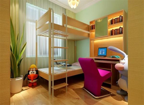 因为客户是2个孩子的一个家庭,孩子的年龄差异不大,所以可以运用到非常实用的儿童上下床铺,这样既节省了空间,还让孩子的屋子比较有乐趣,上墙的书桌可以增加儿童房内的空间利用,让儿童房显得一点也不拥堵