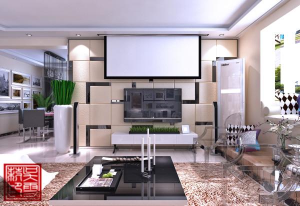 客厅这块,应业主的要求,加上了投影仪,没事的时候可以在家看看电影也还是不错的啊!!!