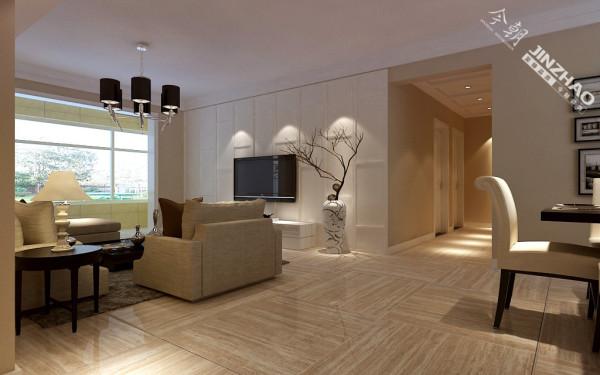 客厅的整体色调遵从了业主温馨而舒适的要求,不过是地砖还是家具,都让人感觉置身与温馨中。