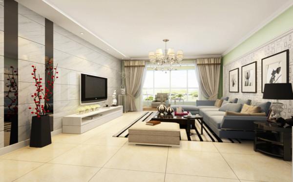 简约时尚的客厅 设计理念:客户比较喜欢清新自然地感觉,所以在设计方面采用了淡绿色和白色乳胶漆结合的效果,而背景墙则采用仿石材的砖上墙的效果,并加以黑镜的对比,使背景墙更突出亮点而又不显得单调。