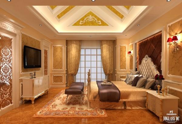 在这套别墅设计案例中,三层的设计与一层类似。客卧沿袭一层的奢华设计,地毯、皮质软包、金色装饰随处可见,为客人带来奢华的享受,满足业主的展示需求。