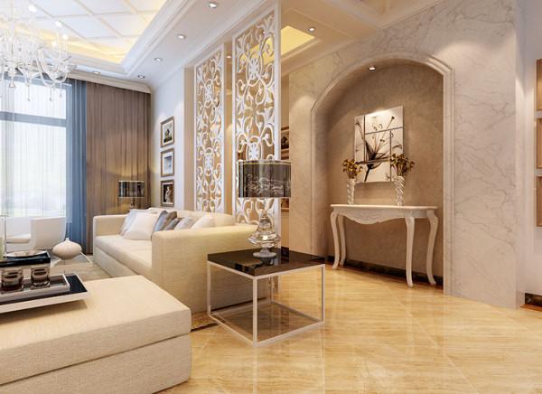 通过玄关和客厅间的通透玄关使室内空间开敞、内外通透,在空间平面设计中追求不受承重墙限制的自由。