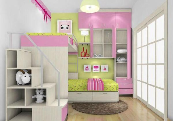 粉色礼物盒 上下床的设计,即使是小空间也有大容量。下床床尾柜体连接着吊柜的设计,个性独特,且不失实用性,即使是上铺也能够拥有床头柜。