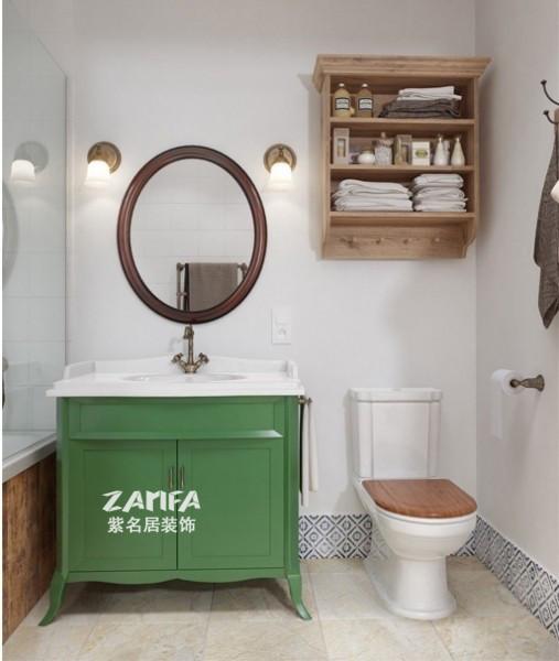 绿色的浴室柜点缀了空间的活力
