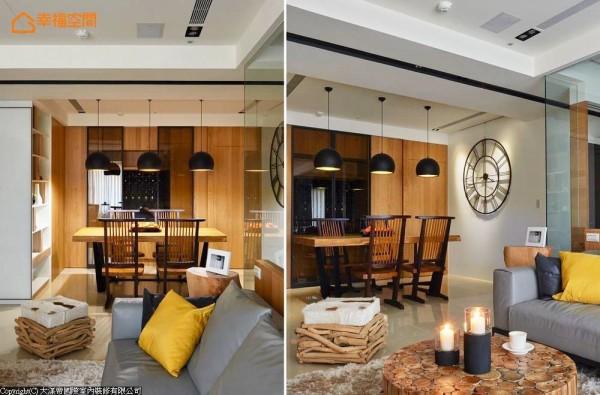 设计师在餐厅内构置现代北欧灯具及大型挂钟,展现当代的时尚氛围。