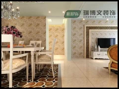 玄关的设计以白色为主和大面积的壁纸相互搭配,简单不失单调