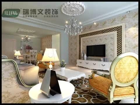 客厅的整体造型使顶角线设计。客厅的中间做了一个偏欧式的造型