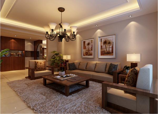 【成都实创装饰】东南亚风格—三居—整体家装—客厅装修效果图 设计理念:地毯和装饰画增加了空间的生气,配以实木的沙发,这种具有重量感的胡桃木色调让空间瞬间转向硬朗,在家居中有种另类的前卫。