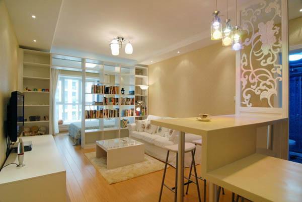 媒体村一居室户型客厅效果图