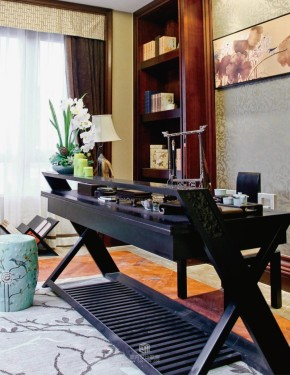中式 文化底蕴 书香门第 温馨 舒适 档次 高端 书房图片来自成都生活家装饰在古典中式应运而生的分享