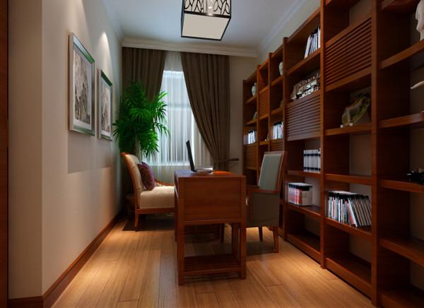 书房书香门第设计理念:书香门第,书房东面墙做成整体书柜。搭配一张书桌和一张贵妃榻,即实用又显大气。