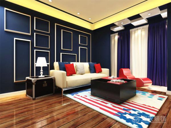 该户型大面积的使用了蓝色、白色和红色,给人一种舒适、安逸、干净的感觉,运用宜家风格的家具,大面积地设置为储物空间,方便业主日后的使用,起到了很好的点缀作用。阳台的吊顶做成蓝白相间的颜色,显得比较活跃。