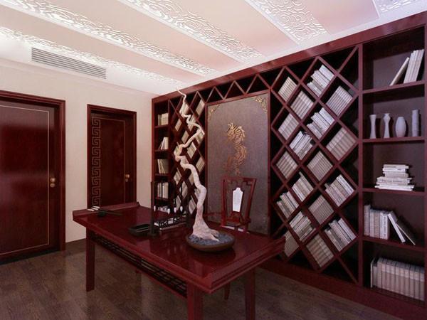 小巧的功能地台是办公区域,丰富的书柜足以满足大量的书籍堆放,温馨的沙帘使其变成独享的小空间。