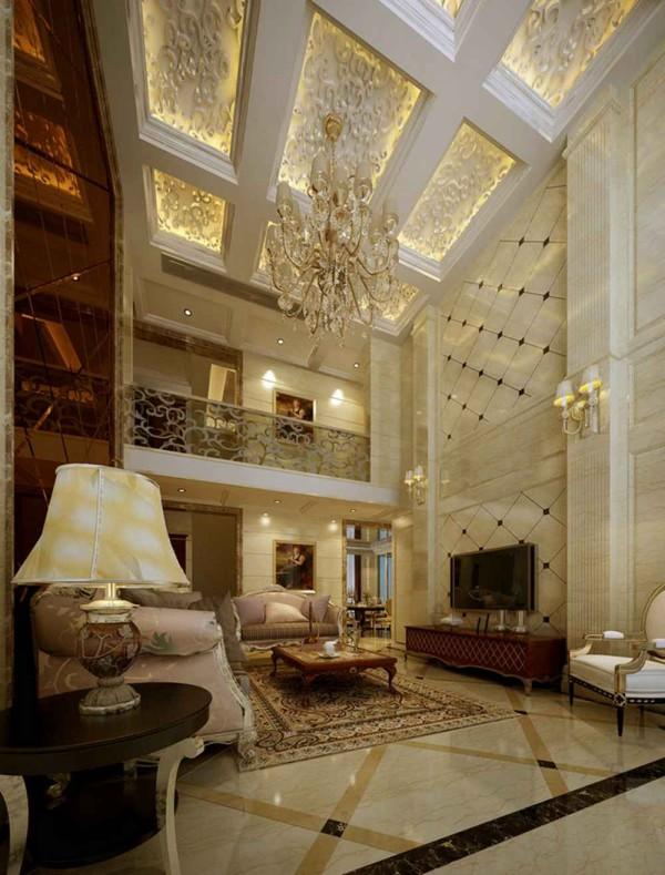 在客厅公共区域墙面采用石材和砖的处理,顶部用雕花和欧式线条的处理,让吊顶整体又不显的单调。