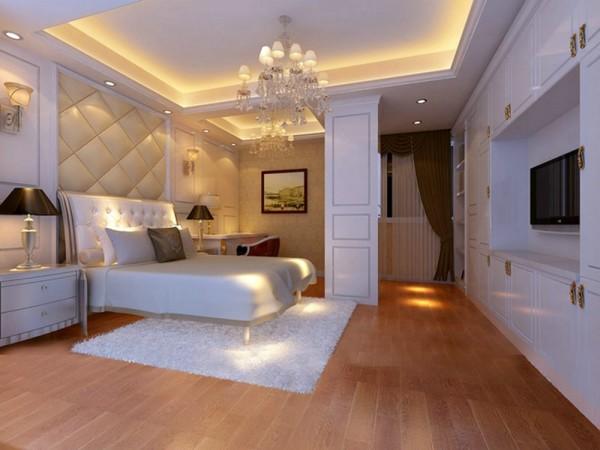 主卧的墙面处理采用墙板和墙纸的结合,配上欧式的水晶灯,显示出主人的身份和生活品质。