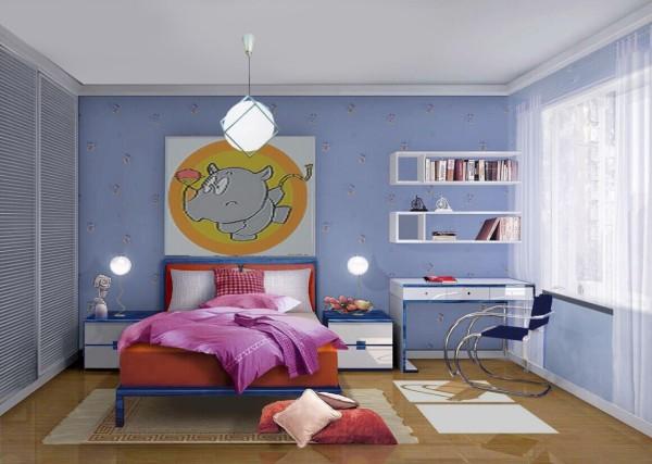 以可爱的动漫图画作为背景墙,深受小男孩的喜欢。深蓝色色调使整个屋子显得更加静谧浪漫。