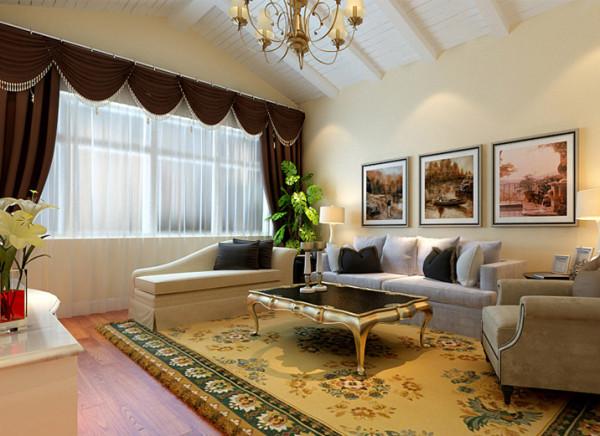 客厅的大部分处在挑空结构之下,大面积的玻璃窗带来了良好的采光,落地的窗帘很是气派。布艺沙发组合有着丝绒的质感及木质曲线,将传统欧式的奢华与现代家居的实用性完美地结合。