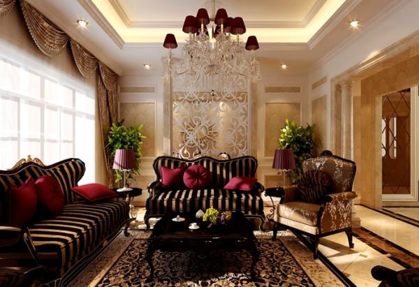 客厅大方、实用,没有较多装饰性摆件,沙发茶几造型优雅,黑棕色条纹稳重时尚,玫红色抱枕则带来一分俏皮,使整个空间灵动而流畅,又不失优雅稳重。