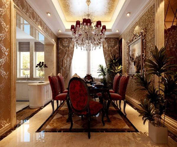 既延续了客厅整体的黑色、玫红色色调,保证连贯性,也充分考虑到餐厅的实用功能。由于家中人口较多,而餐厅面积相对局促,因此设计师为业主选择了长方形简欧风格餐桌,将功用性较小的别墅配饰一一简化。