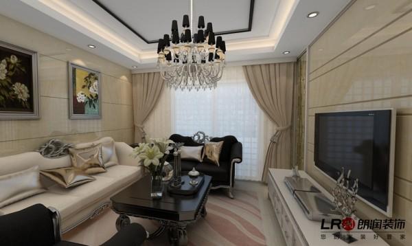 客厅造型简约精致,虽然是欧式风格,但是并不繁复奢华,反而清爽温馨,这是客户最喜欢的感觉!