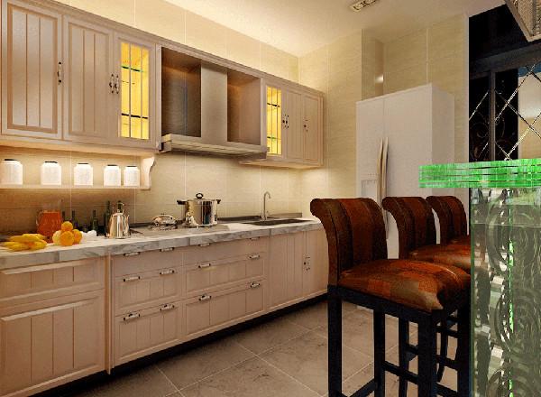 白色橱柜搭配整体效果的田园风格,小小吧台,朝向客厅。让整个设计都承上启下。