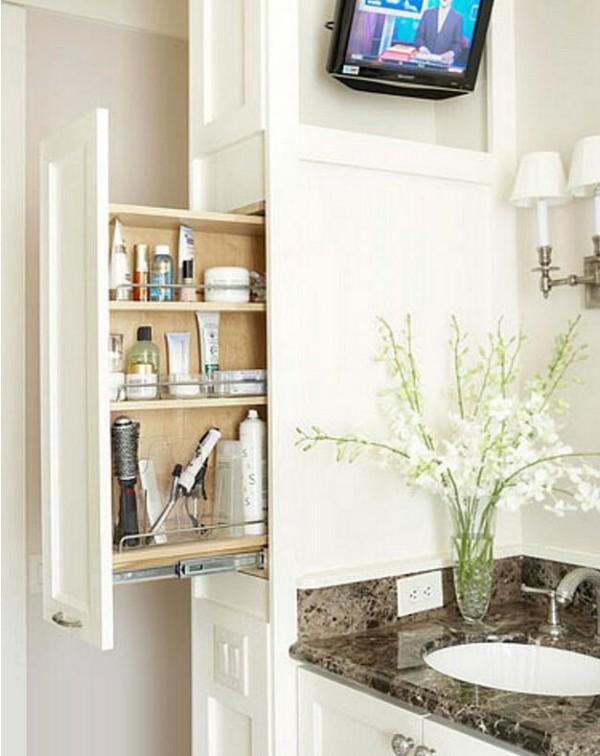 这种柜子最近在室内设计中很流行,外观整齐、美观,但是里面却暗藏玄机,分层摆放上各种洗漱用品,轻轻拉开抽屉,就可以拿取,多简单!
