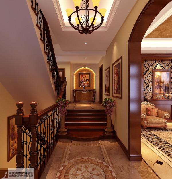 楼梯间细节图 成都高度国际别墅装饰设计