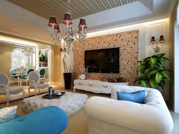客厅整体以壁纸为主。电视墙采用客户钟爱的马赛克。由于玻璃的马赛克给人比较冷,花纹过于复杂会让整个电视墙太花哨。人在看电视的时候也会影响视觉。只能采用陶瓷的马赛克。旁边加上白色的护墙板和壁灯。