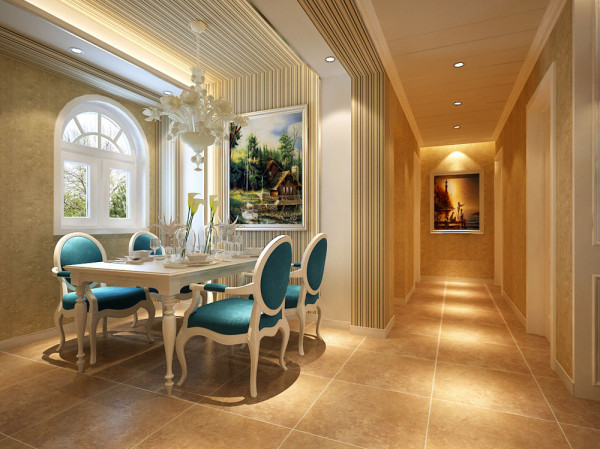 主要是顶面和墙面的造型的衔接,在餐桌顶面和餐厅背景墙区域用条纹壁纸铺贴。不仅可以从材质上更使有层次感,也使得整个餐厅的线条显得更为的活泼。视觉更为的宽广。