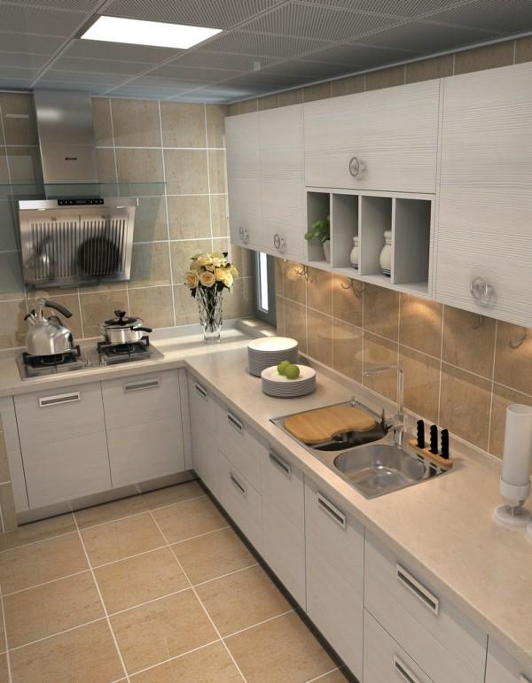 相对于客厅,厨房显得明亮欢快。石材纹的防滑地砖搭配白色木质的橱柜,整体空间干净舒适。