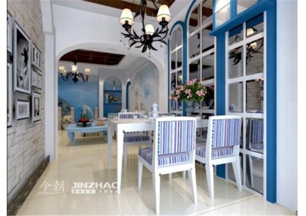本案例设计的风格为地中海设计,经典而不过时的蓝白搭配是地中海最显著的特征