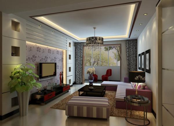 客厅以浅色系为主色调,局部用彩色的壁纸做点缀,来强化空间进深感。