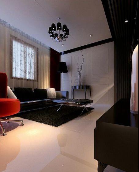 客厅运用欧式风格中的元素,简化到极致,来装饰墙面。