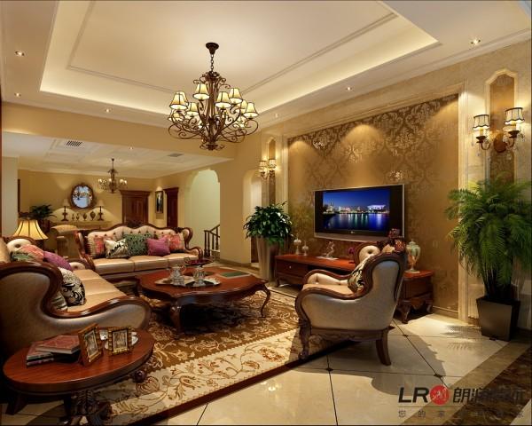 客厅大图,美式风味的独特展现,每一个细节表现完美,把美式的格调诠释非常到位!