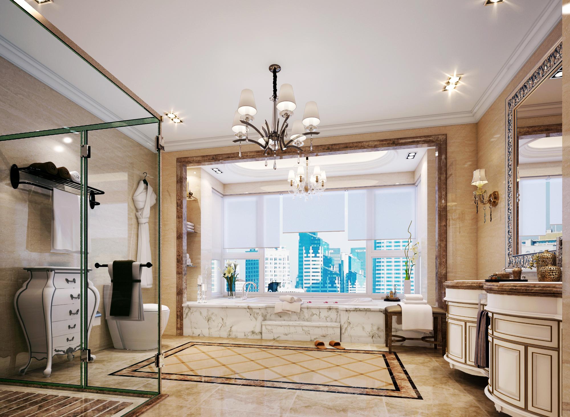 欧式 简约 别墅 西山别墅 软装配饰 卫生间图片来自尚层装饰张迪在120万帮您打造450平全案欧式风格的分享