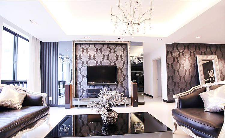 新古典风格 四居室装修 原木家具 环保材料 164㎡装修 实用收纳 客厅图片来自居佳祥和装饰在异类黑色164㎡黑色新古典装修的分享