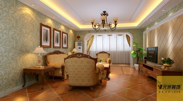 客厅:客厅配以简单的电视墙,沙发背景墙以挂画为主,简单大气