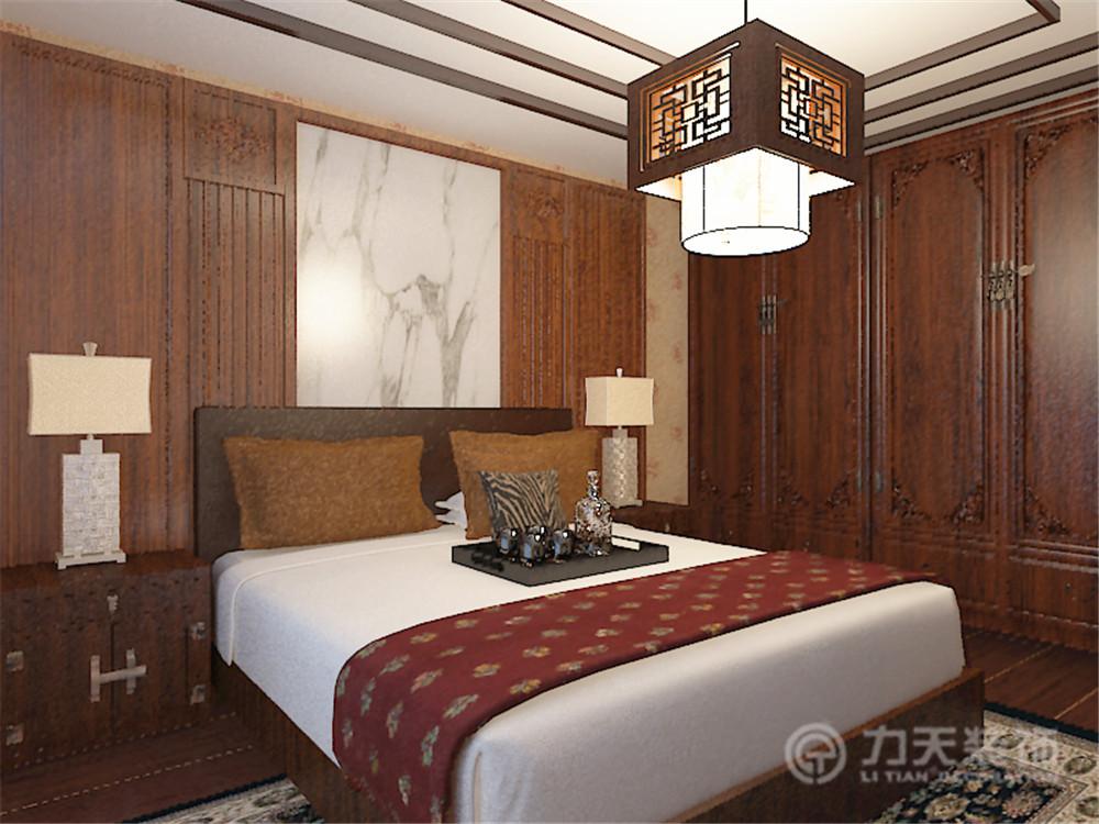 中式 三居 白领 收纳 80后 小资 卧室图片来自阳光力天装饰在宝能城-130.00㎡-中式的分享