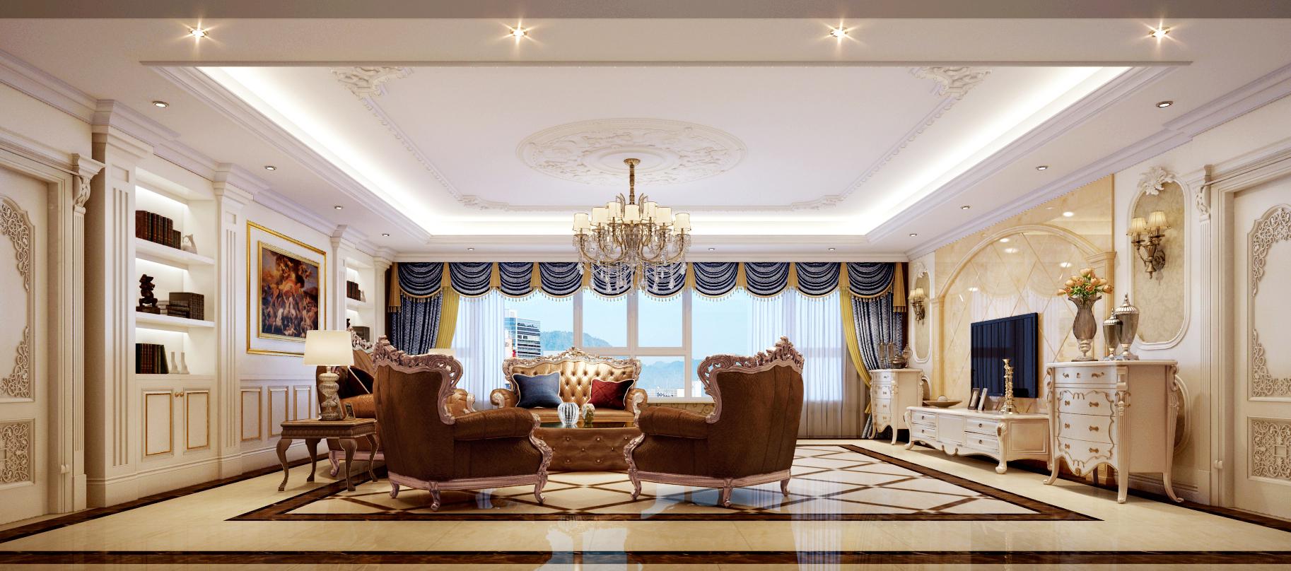 欧式 简约 别墅 西山别墅 软装配饰 客厅图片来自尚层装饰张迪在120万帮您打造450平全案欧式风格的分享