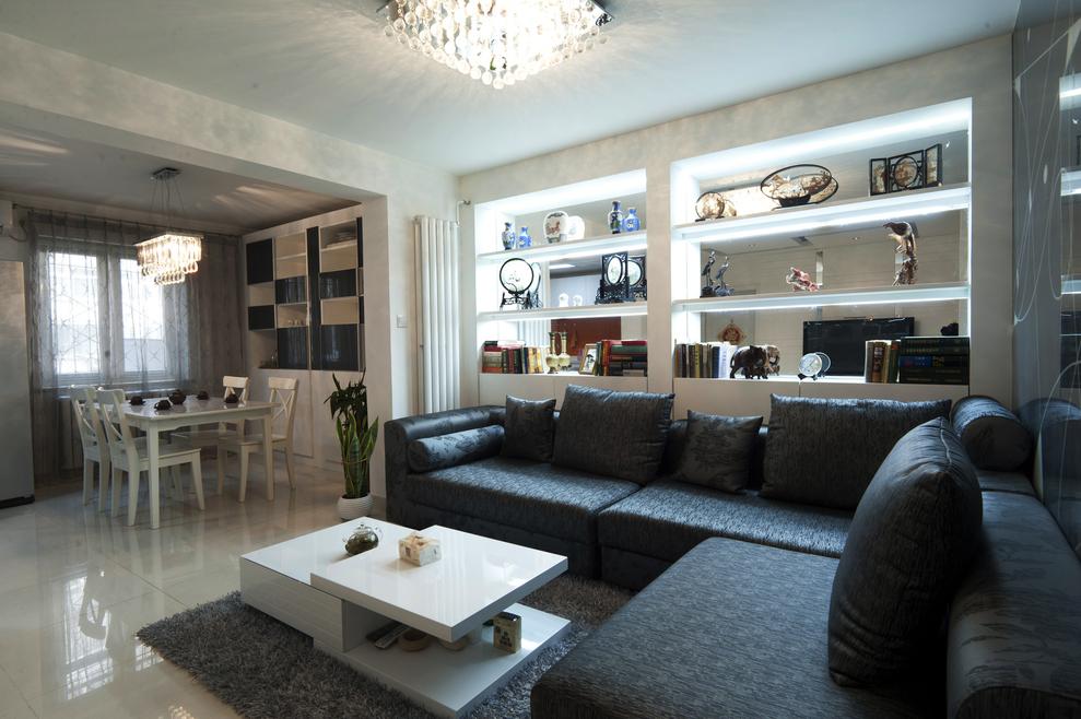 现代简约风 老房装修 西三旗装修 今朝装饰 装修设计 客厅图片来自北京今朝装饰在黑白生活--100平米三居室装修的分享
