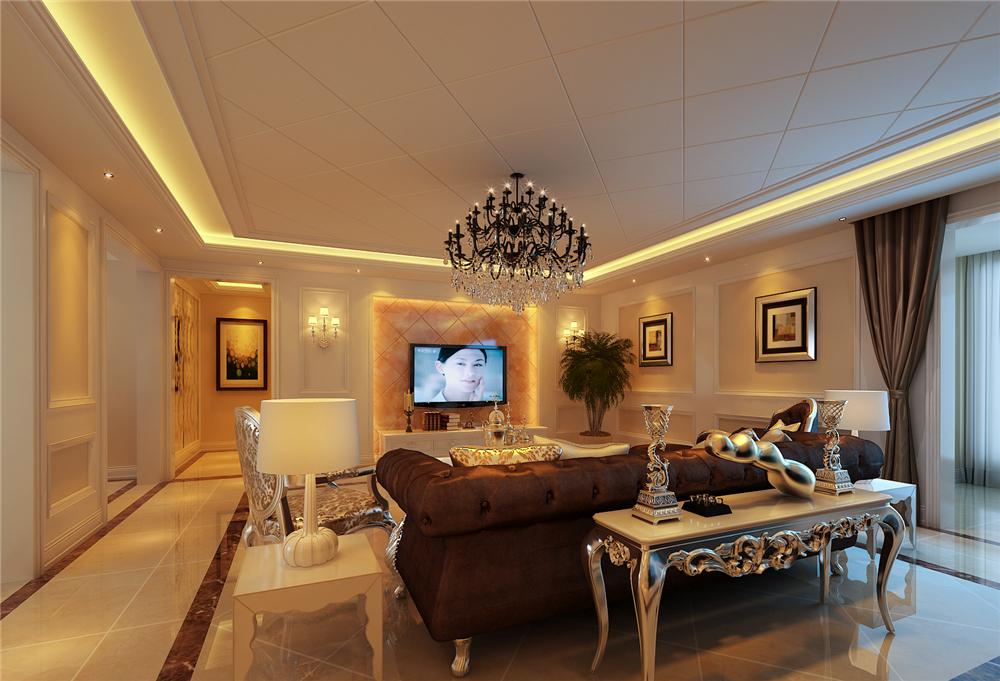 欧式 三居 白领 收纳 80后 小资 客厅图片来自实创装饰完美家装在首邑溪谷170平简欧案例赏析的分享