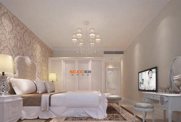 卧室作为业主休憩的场所,已不再需要过多的装饰,家具选择秉持典型的法式风格搭配原则,家具均为白色,表面略带雕花,显得优雅舒适。卧室这种舒适、优雅、安逸的内在气质。