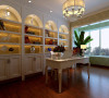 书房以淡绿的壁纸为主色调,搭配白色具有欧式特色的拱形书柜和白色的书桌,营造出安静舒适的环境。