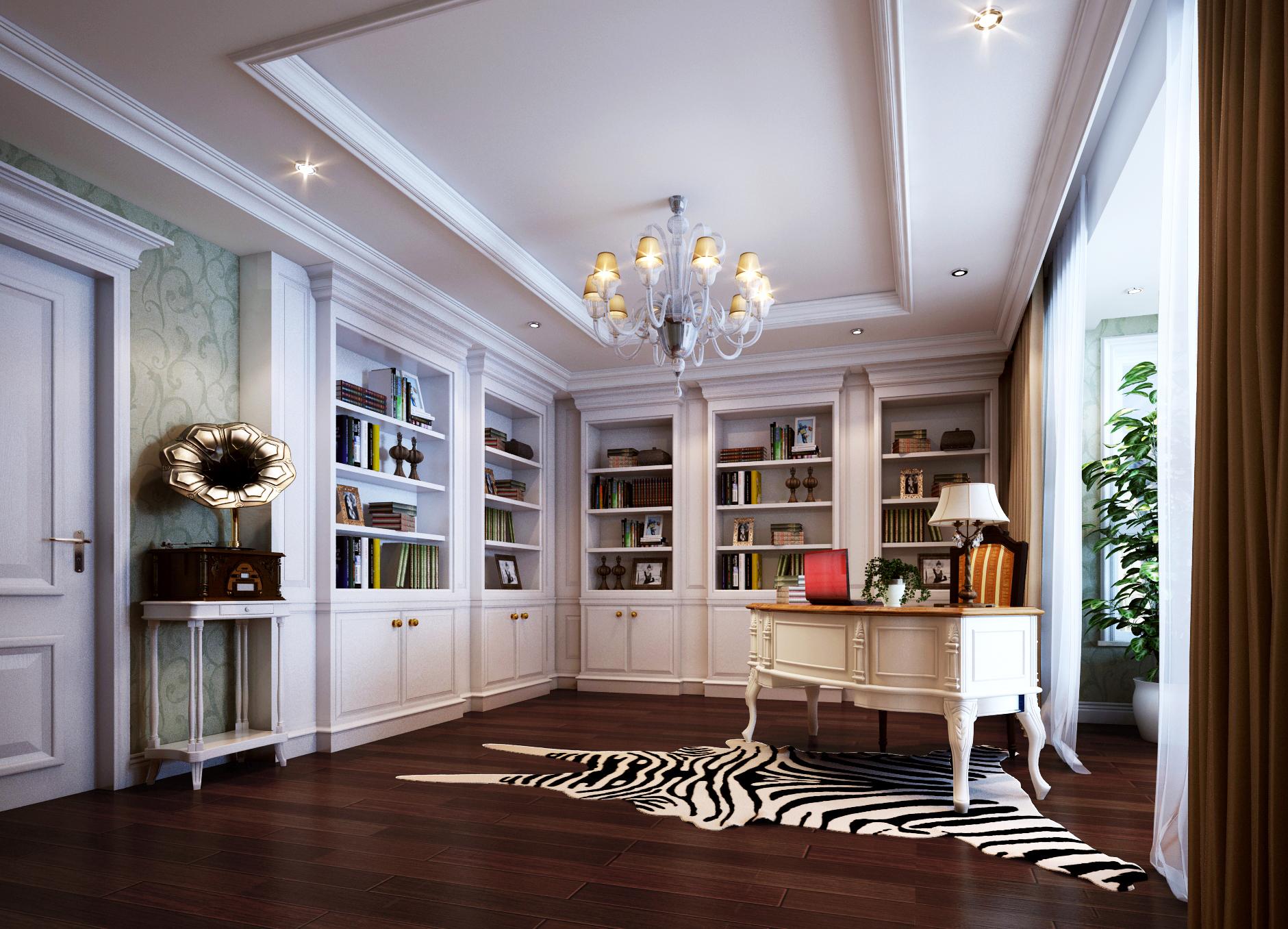 欧式 简约 别墅 西山别墅 软装配饰 书房图片来自尚层装饰张迪在120万帮您打造450平全案欧式风格的分享