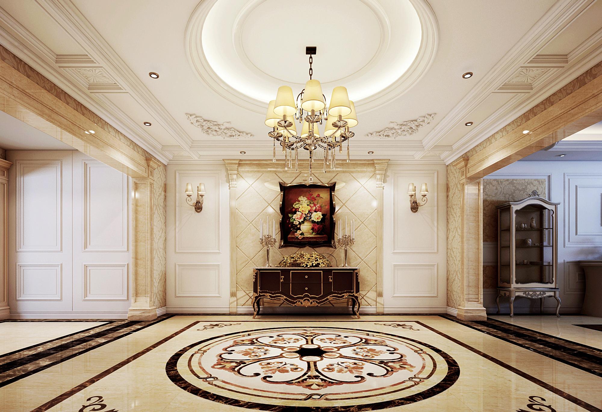 欧式 简约 别墅 西山别墅 软装配饰 玄关图片来自尚层装饰张迪在120万帮您打造450平全案欧式风格的分享